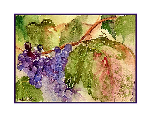 Watercolor Sunripened Grapes Cards