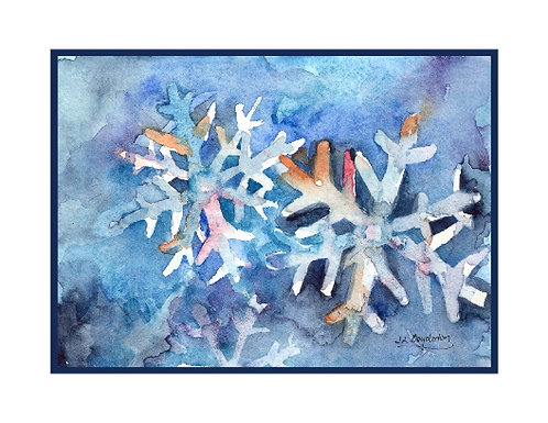 Watercolor Christmas Snowflakes Cards