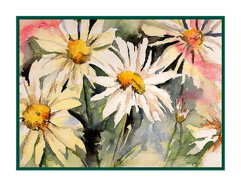 Watercolor 4 Daisies Note Cards