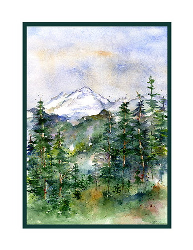Mount Baker Watercolor Note Cards