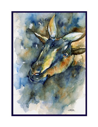 Nigerian Dwarf Goat Watercolor Note Cards