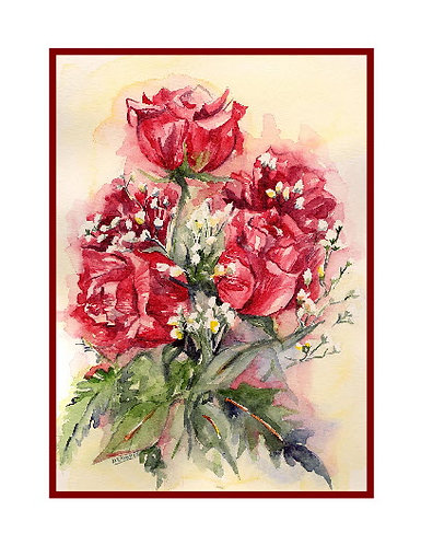 Love is Roses Watercolor Cards