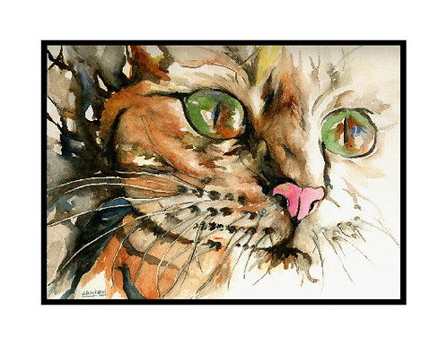 Reflective Eyes Tiger Cat Watercolor Note Cards