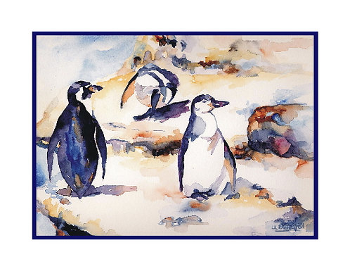 Penguins Watercolor Note Cards