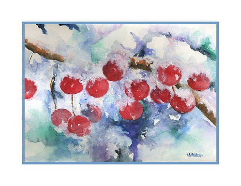 Winter Crabapples Watercolor Note Cards