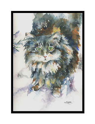 Snow Cat Watercolor Note Cards