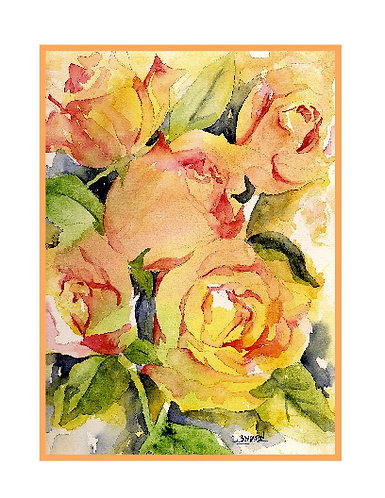 Watercolor Five Roses Note Cards