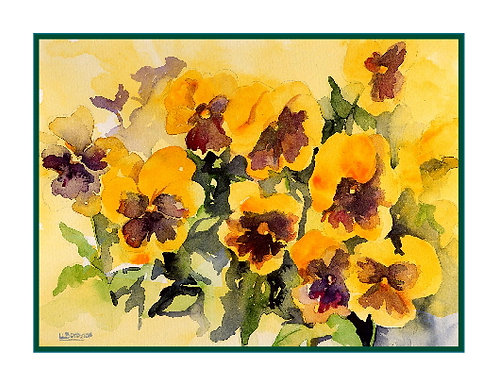 Yellow Pansies Watercolor Note Cards