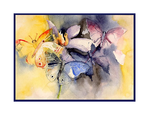 Butterflies Watercolor and Ink Note Cards
