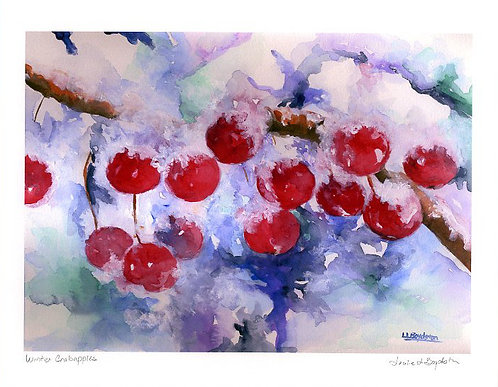 Winter Crabapples Watercolor Giclee
