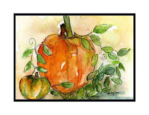 Watercolor  and Ink Pumpkin Cards