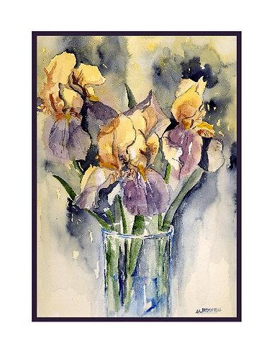Watercolor Cut Irises Note Cards