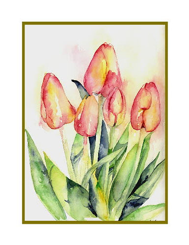 Tiptoe Thru the Tulips Watercolor Note Cards