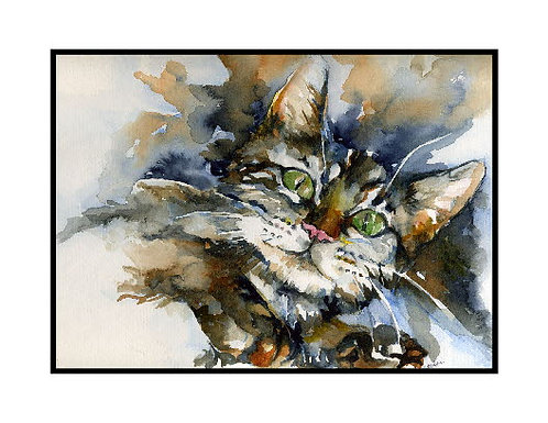Green-Eyed Tiger Cat Watercolor Note Cards