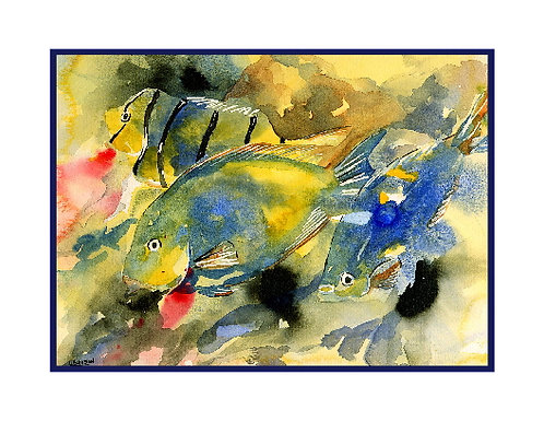 Tropical Fish Watercolor Note Cards