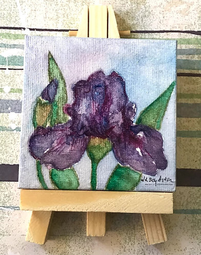 Original Watercolor and Ink Purple Iris Mini Canvas with Easel