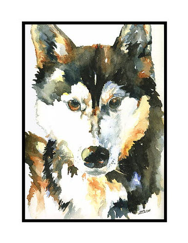 Watercolor For the Love of Huskies Note Cards