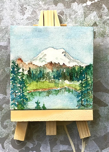Original Watercolor and Ink Mt. Rainier Tipsoo Lake Mini Canvas with Easel