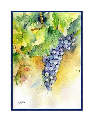 Watercolor Cabernet Grapes Note Cards