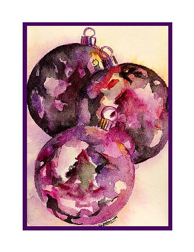 Watercolor Christmas Ornaments Note Cards