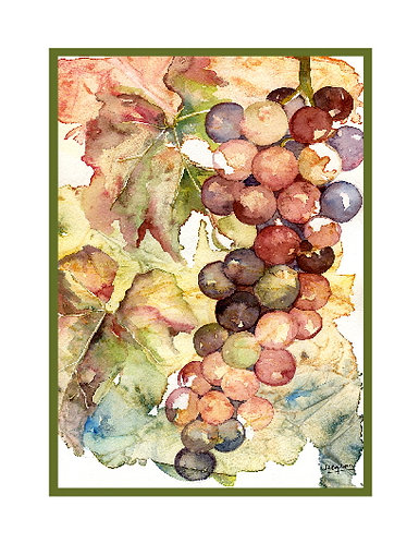 Heavenly Grapes Watercolor Note Cards