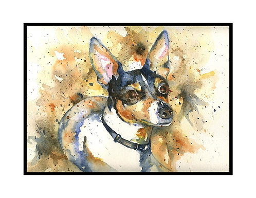 Toy Fox Terrier Watercolor Note Cards