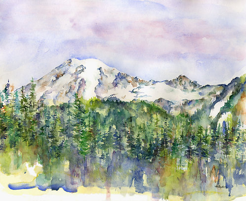 Mount Rainier Original Watercolor Painting