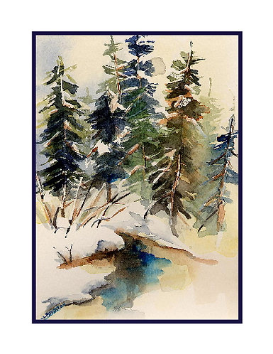 Winter in the Forest Watercolor Note Cards
