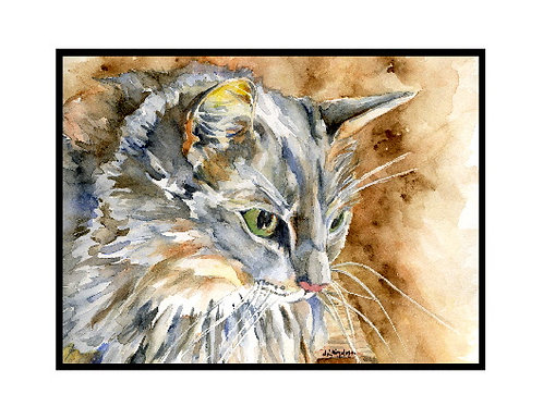 Gray Cat Watercolor Note Cards