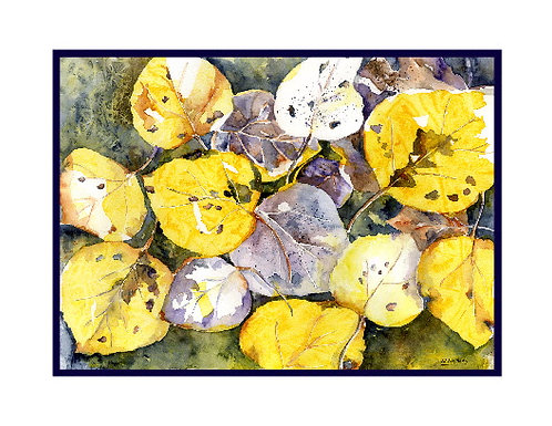 Watercolor Fall Aspen Leaves  Note Cards
