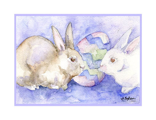 Easter Bunnies Watercolor Note Cards