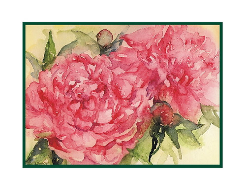 Two Peonies Watercolor Note Cards