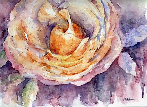 Renaissance Watercolor Rose Painting