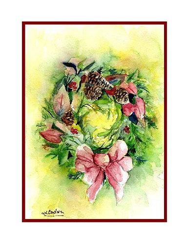 Pine Cone Wreath Watercolor Note Cards