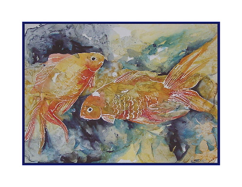 Two Goldfish Watercolor Note Cards