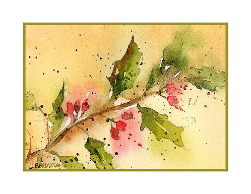 Holly Watercolor Note Cards