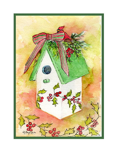 Watercolor Christmas Birdhouse Cards