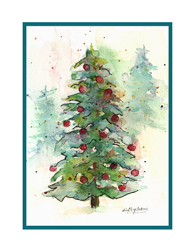 Watercolor Christmas Fir Tree Cards