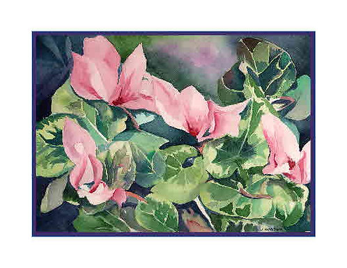 Watercolor Cyclamens Note Cards