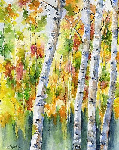 Aspen Trees Watercolor Giclee Print