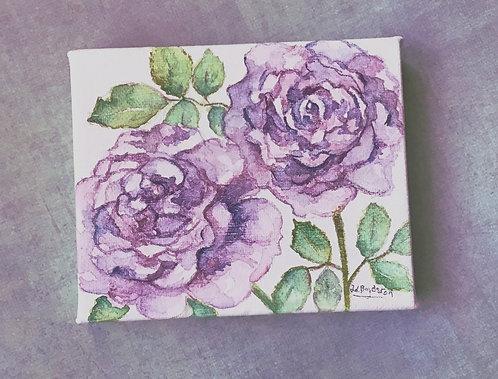 Small Purple Roses Original Watercolor on Canvas
