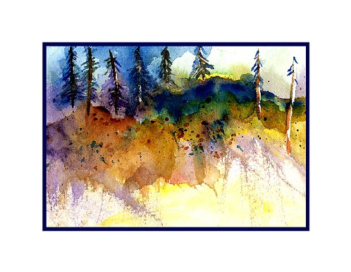 Watercolor Edge of Woods Note Cards