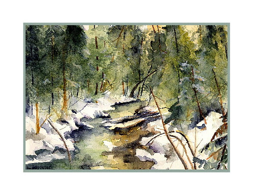 Cascade River in Winter Watercolor Note Cards