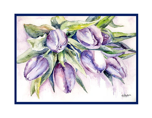 Blanket of Tulips Watercolor Note Cards