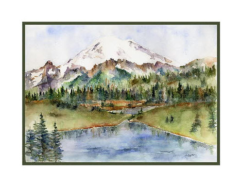 Tipsoo Lake Watercolor Note Cards