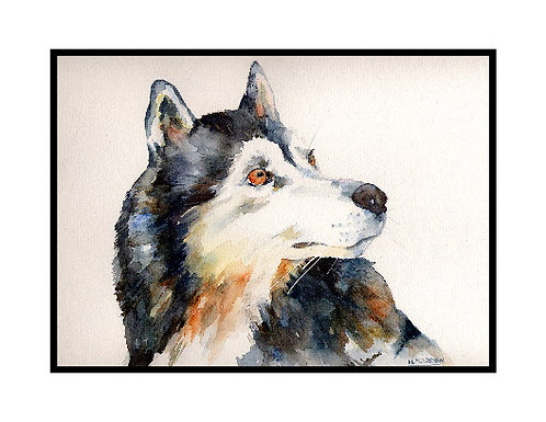 Siberian Husky Watercolor Note Cards