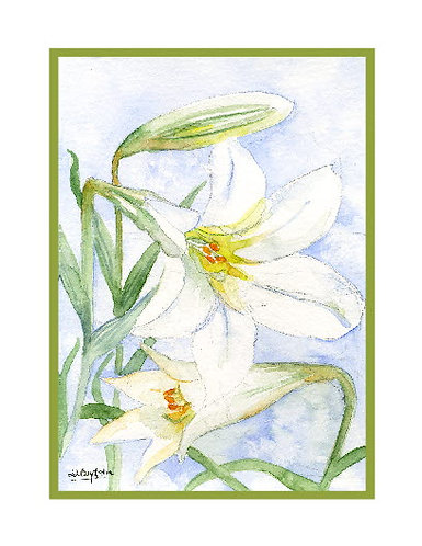 Easter Lilies Watercolor Cards