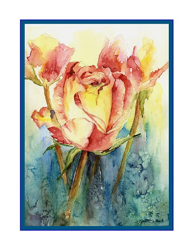 Watercolor Yellow Red Rose Note Cards