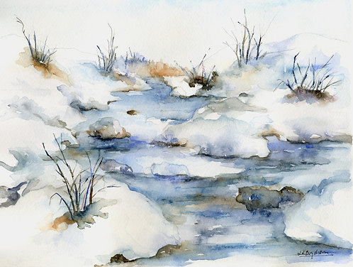 Icy River Original Watercolor Painting