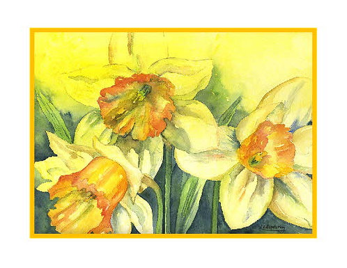 Watercolor Fleeting Daffodils Note Cards